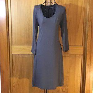 Gray Long Sleeve Midi Dress